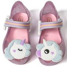 Melissa/мини-сандалии для девочек; прозрачная обувь в виде единорога; детские сандалии; дышащая Нескользящая летняя прозрачная обувь высокого качества; Melissa