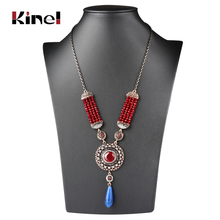 цены Kinel 2018 New Fashion Ethnic Natural Stone Pendant Necklace For Women Antique Gold Color Beaded Handmade Bohemia Jewelry