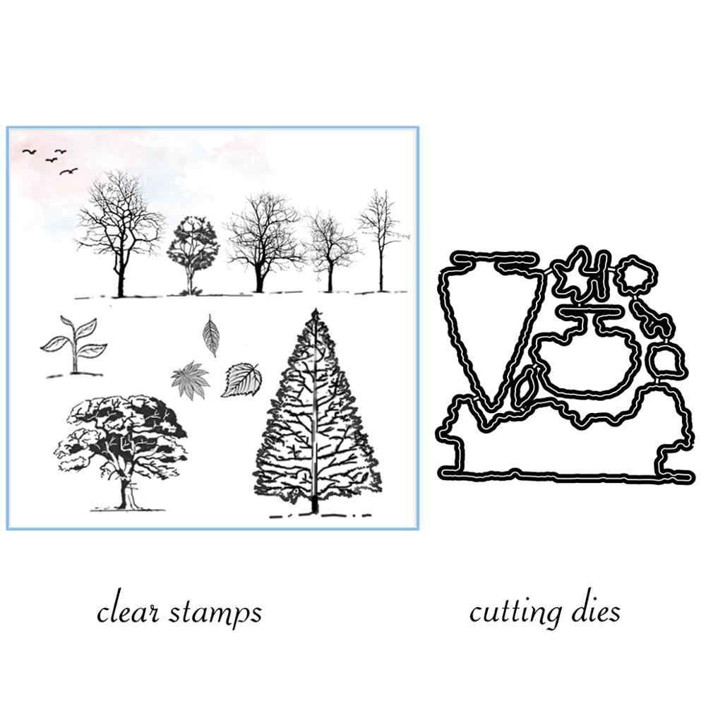 Pine Trees Leaves Sapling Cutting Dies Clear Stamps For DIY Scrapbooking Decorative Card making Craft Fun Decoration Supplies