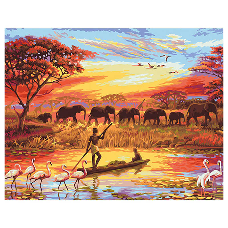 Fisherman And Elephants Scenery DIY Digital Painting By Numbers Modern Wall Art Canvas Painting Unique Gift Home Decor 40x50cm