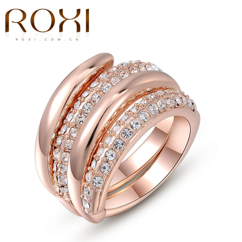 ROXI Women Finger Rings Rose Gold Color Engagement Wedding Rings for Women CZ Twine Design Wide Surface Ring Set Jewelry Bijoux
