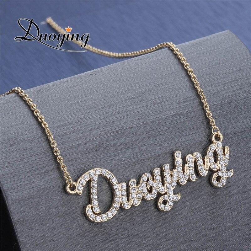 Duoying cristal pendentif collier pour femmes pierre chaîne zircone colliers femmes personnalisé collier avec noms lettres initiales