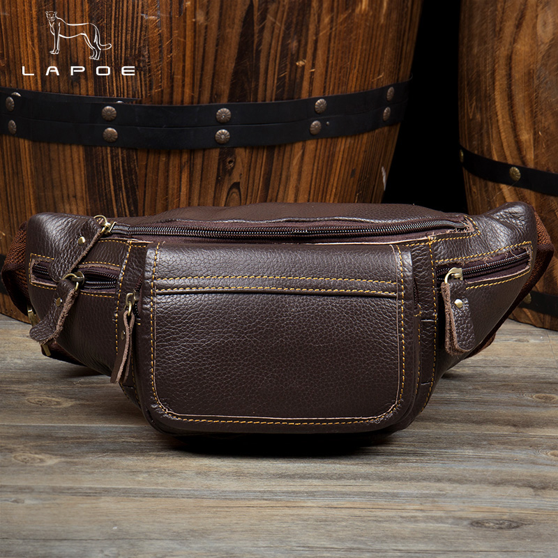 LAPOE genuine leather bag men waist bag pochete homem couro mens fanny pack waist bag leather belt bag purse heuptas heren waist bag