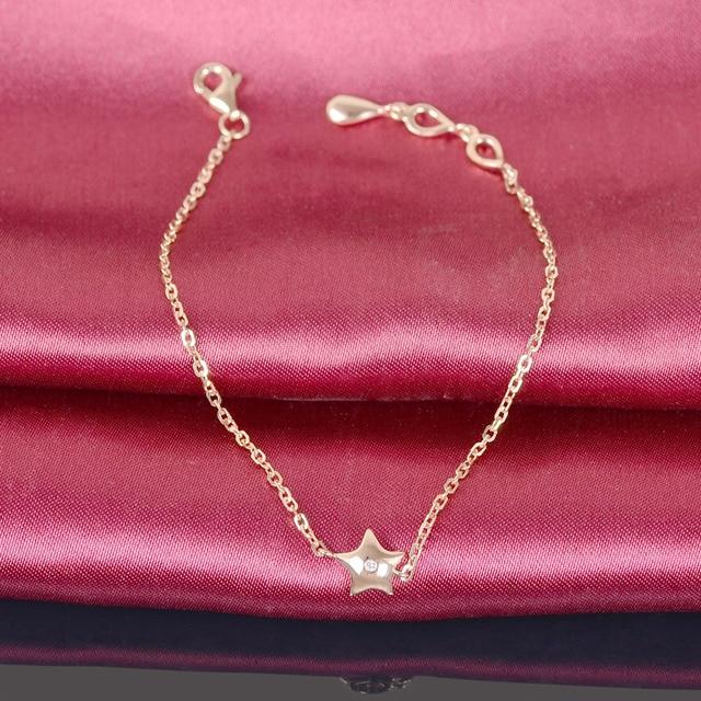 Women Diamond Bracelet Solid 18K Rose Gold Star Charm 18cm Wedding Engagement Handmade Fine Jewelry