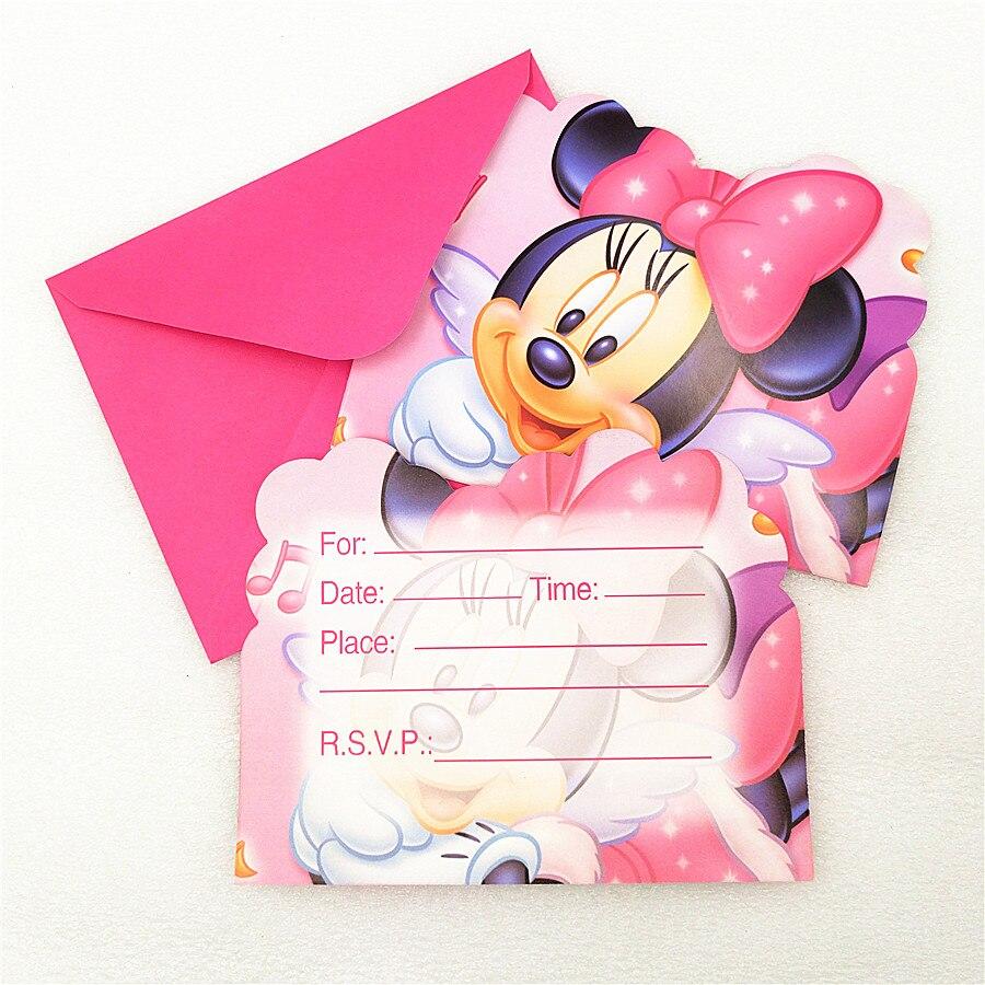 6 Tarjetas De Invitación Sobre Minnie Mouse Suministros Para Fiesta De Niño Cumpleaños Minnie Mouse Fiesta Decoración Dibujos Animados De Baby Shower