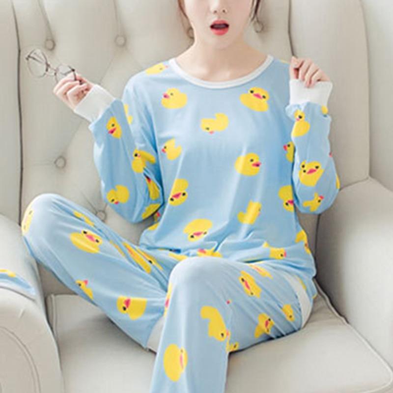Hot Womens   Pajamas     Sets   2019 Summer Round Neck Cartoon Kawaii Chick Cartoon Print Sleepwear Female Casual Autumn Winter   Pajamas