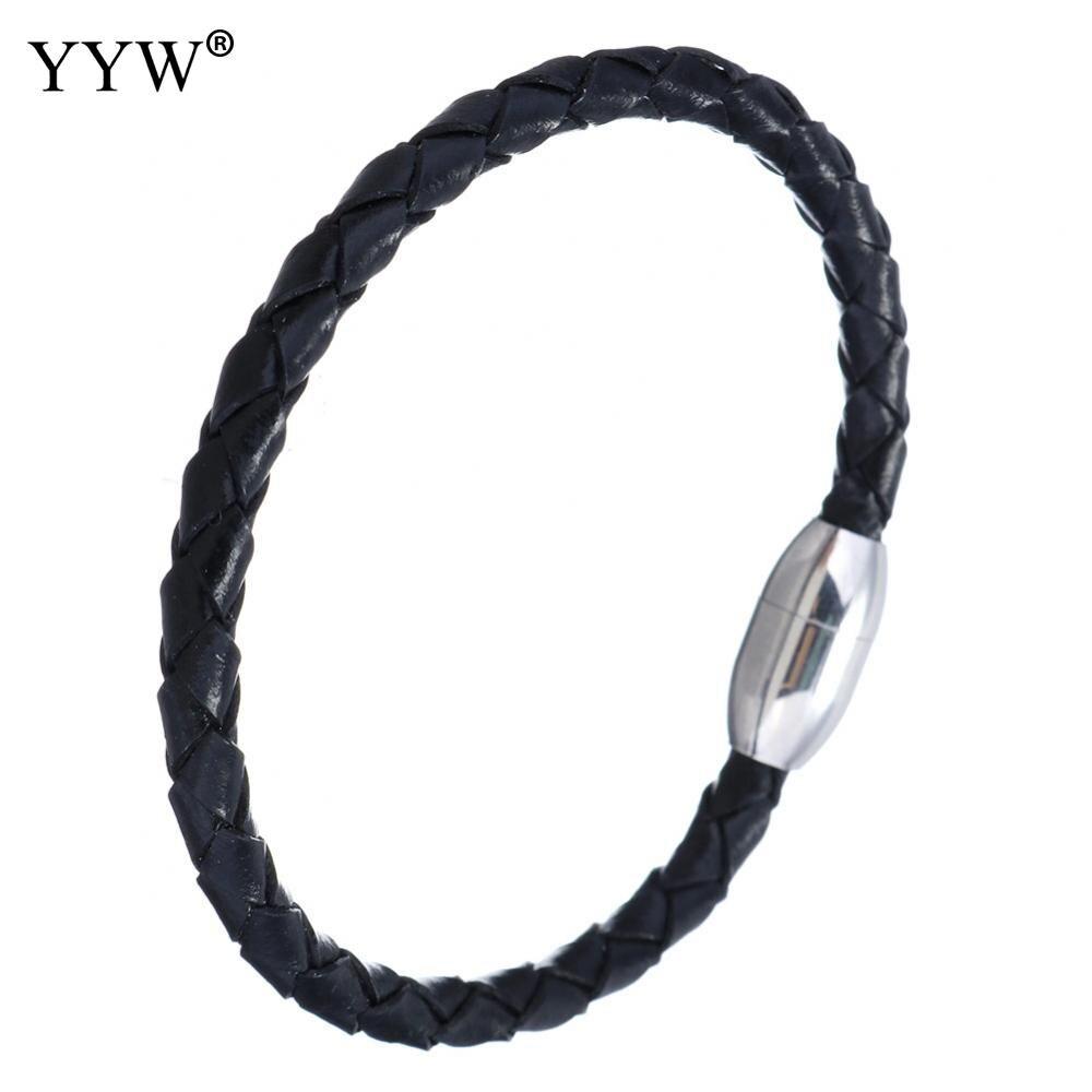 2017 New Fashion Jewelry Men Bracelets Leather Stainless Steel Bracelets & Bangles Male Female Jewelry
