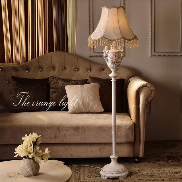 US $284.75 15% OFF|Resin European style fabric lampshade modern floor lamps  for living room E27 110V 220V fabric european lighting floor lamp-in Floor  ...