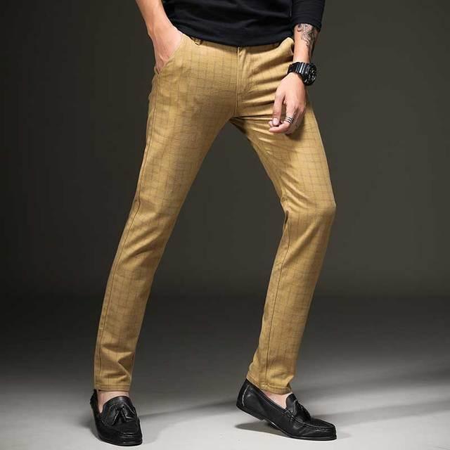 2017 otoño a cuadros de los hombres Pantalones casual vestido chino plano  frontal Slim alta calidad 69da50bd672