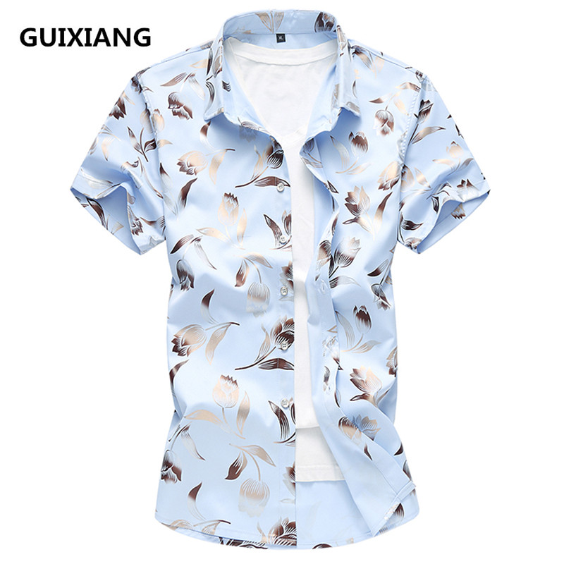 2018 summer men's flowers short sleeved shirts men Silk & cotton Male Shirts Brand Clothing men Casual shirt Man