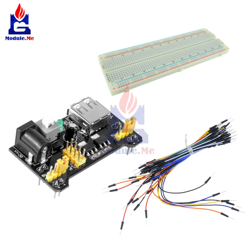MB102 Power Supply Module 3.3V 5V+Breadboard Board 830 Point+65PCS Jumper cables