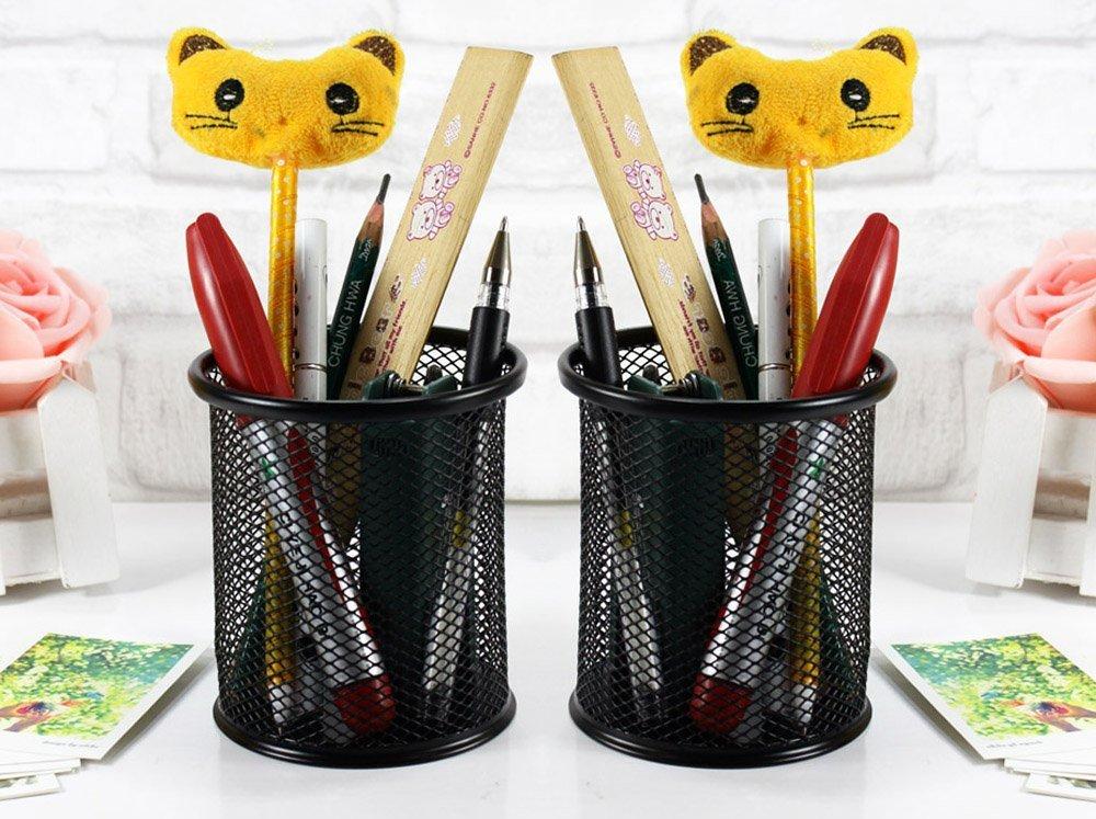 2 stks zwarte ronde staal mesh stijl pen potlood cup bureau