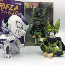 Dragon Ball Z Zelle Frieza CuteVer. Verachten Schlechten Geschmack Freeza Ultimative Form Sitzen Goku Schlacht DBZ PVC Action Figure Sammlung(China)
