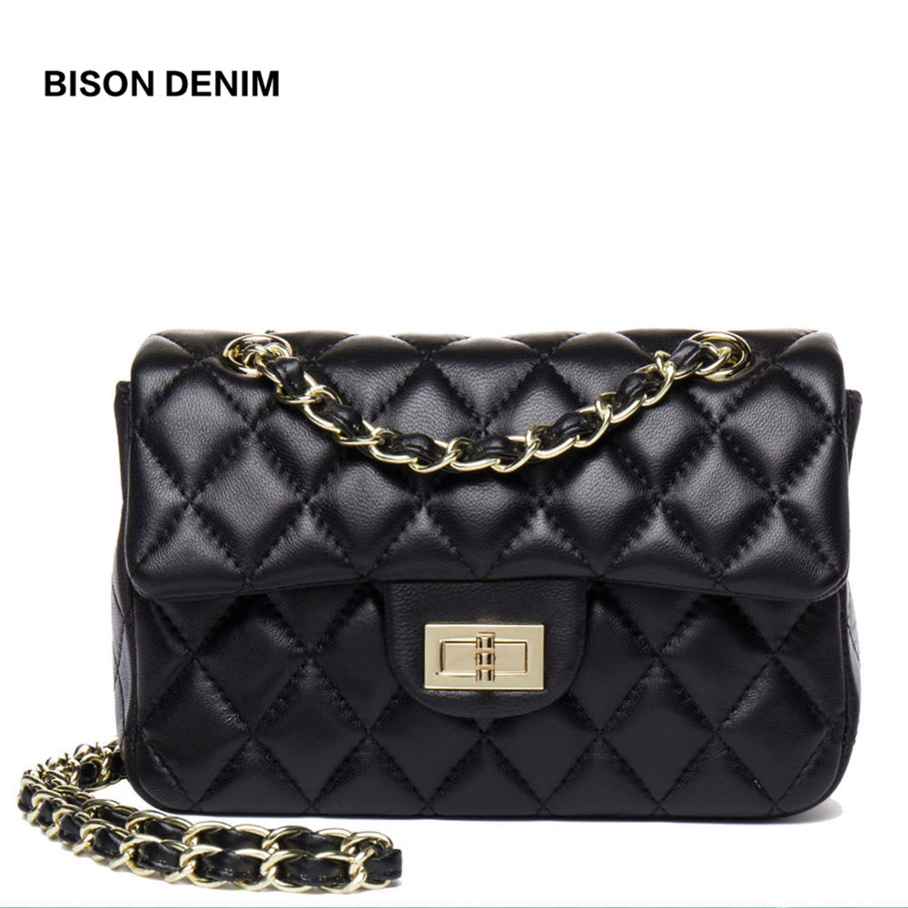BISON DENIM Sheepskin Women Bag Chain Shoulder Bag Luxury Handbags Wome Bags Designer Flap Crossbody Bag bolsa feminina N1383 bison denim brand women bags genuine leather shoulder bag female for women 2018 luxury crossbody bag bolsa feminina n1560