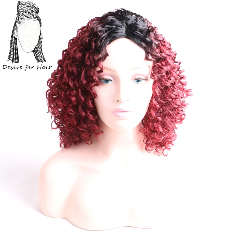 Desire for hair Kinky curly high temprature synthetic wigs for women ombre black burgund ...
