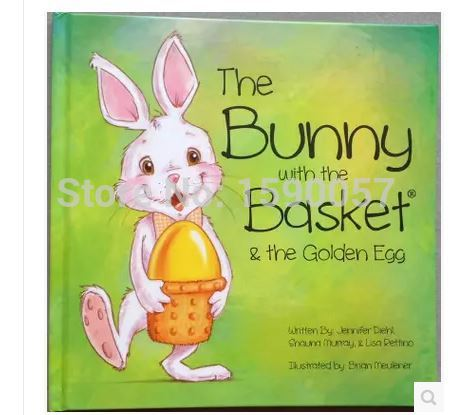 ФОТО Free shipping 2015 New Hot Saler Easter Bunny with golden egg painted baby English early childhood reading