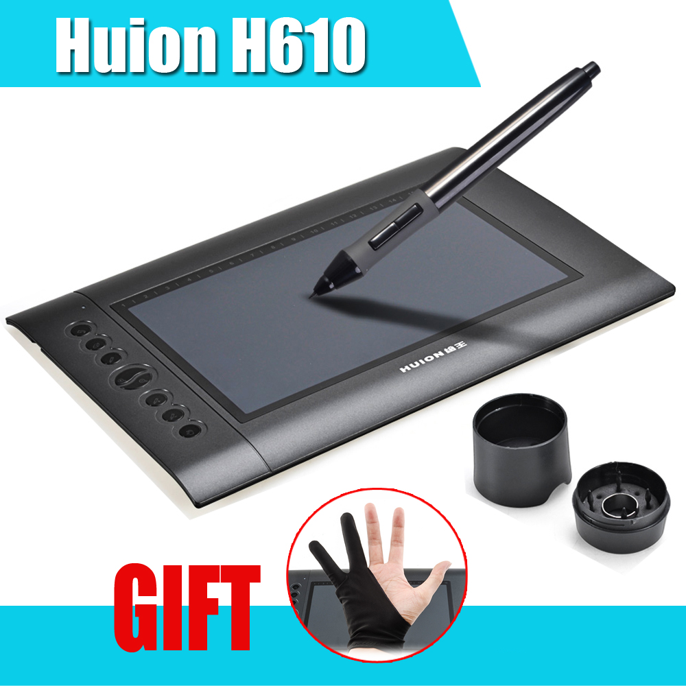 ФОТО Genuine HUION H610 Professional Graphics Drawing Tablet Digital Tablets + Anti-fouling Golve as Gift 016661 Free Shipping