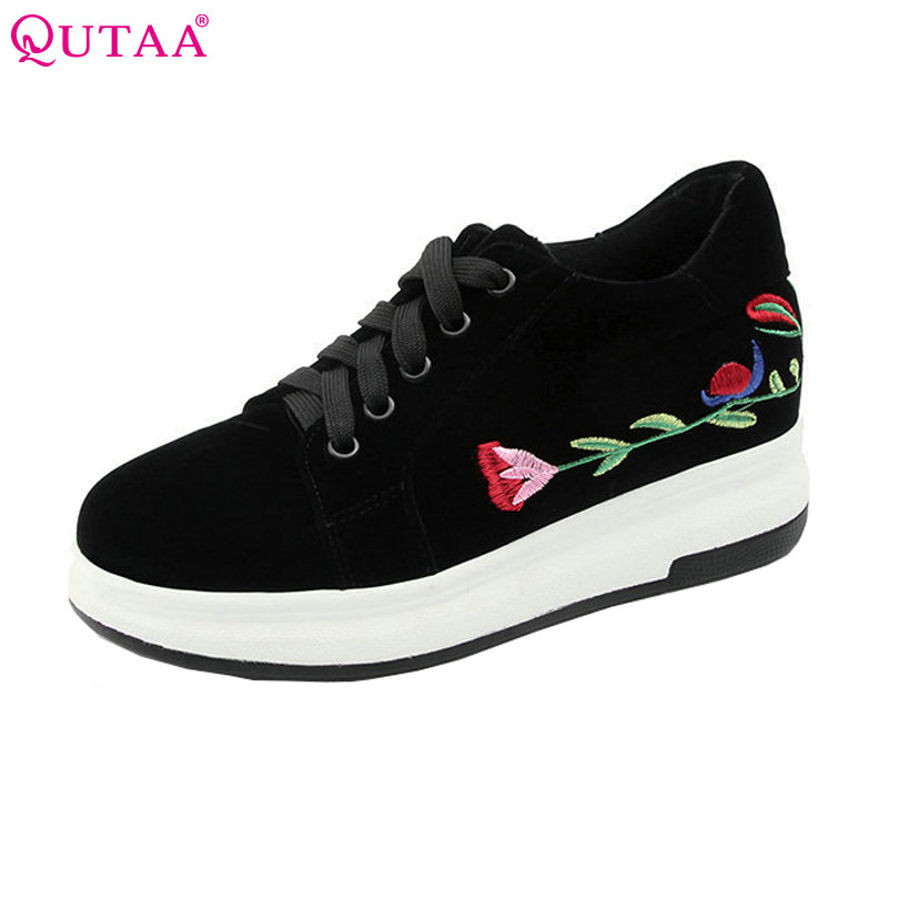 QUTAA 2018 Women Pumps Round Toe Woman Shoes Platform Embroider Wedge Med Heel PU Leather Lace Up Ladies Casual Pumps Size 34-43 big size high heels round toe women platform shoes cool casual white lace wedge black creepers medium pumps mesh chinese fashion