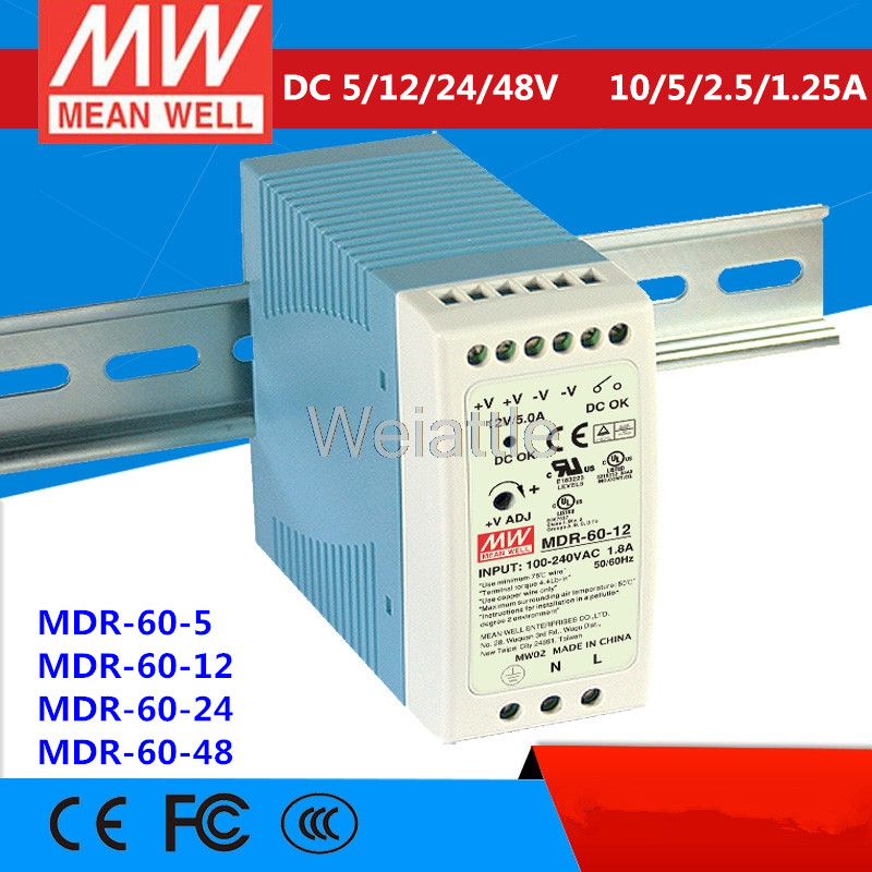 1x 60W 12V MINI Din Rail Single Output Switching power supply MDR-60-12