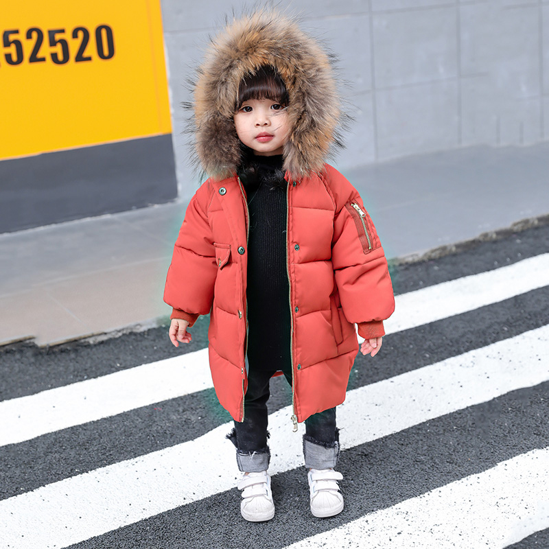 Thick Warm Toddler Girls Winer Coat Down Cotton Padded Raccoon Fur Collar Kids Outwear Jacket Snow Wear Hooded Children Parkas цена 2017