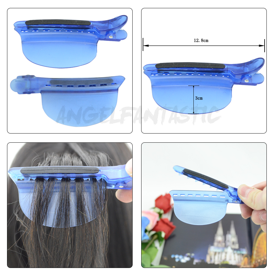 Купить с кэшбэком Wholesale 2pcs 2 IN 1 Heat Insulation Protector Shield+Sectioning Hair Clips for Hairdressers Pro Salon Tools for Hair Extension