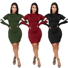 Women Bodycon Dress O Neck Stripe Print Package Hip Long Sleeve Sheath Mini Club Party Dresses Casual Outfits Female Vestidos adogirl tie dye print women casual dress o neck short sleeve bodycon sheer mini t shirt dresses female night club party outfits