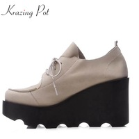 Krazing Pot 2018 Brand Shoes Cow Leather High Heels Shoes Women Waterproof Autumn Pumps High Quality