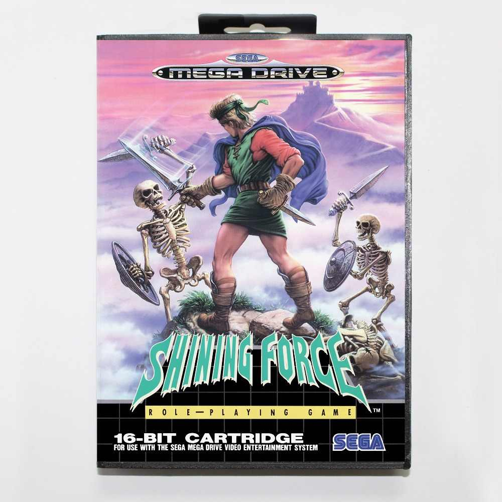 Shining Force Game Cartridge 16 bit MD Game Card With Retail Box For Sega Mega Drive For Genesis