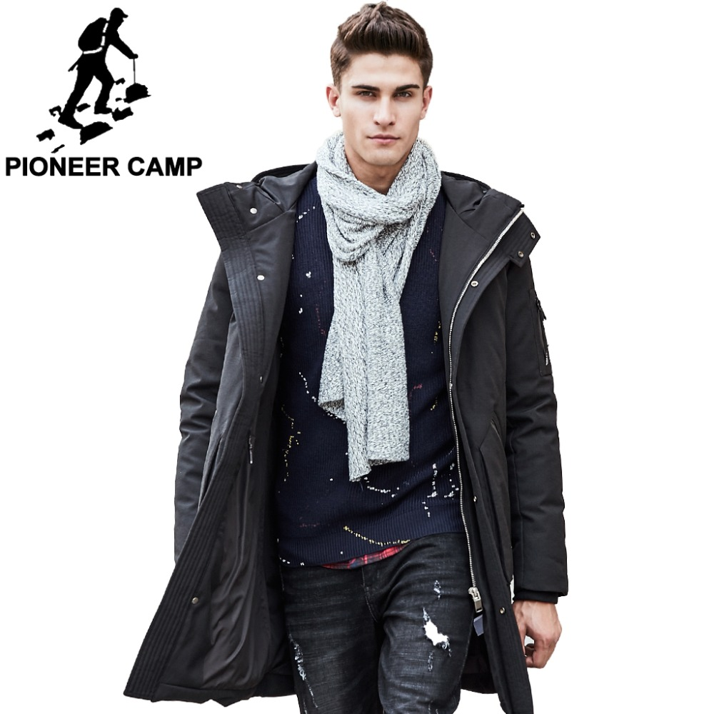 Pioneer Camp Russian winter down jacket men brand clothing Top quality Long warm Thick 90 White