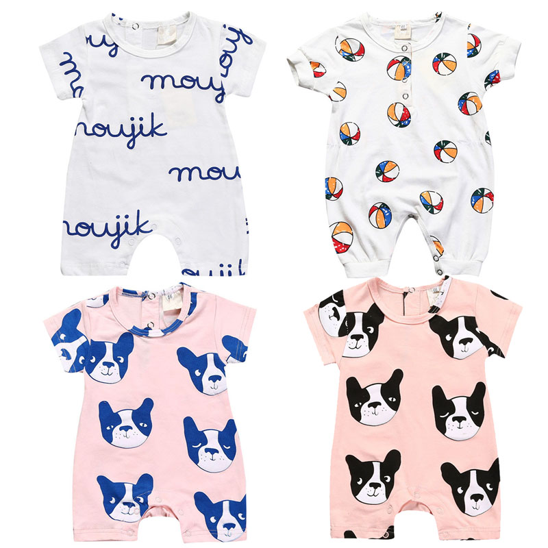 2017 Summer Bobo Choses Tiny Cotton White Pink Dog Letter font b Baby b font Boys