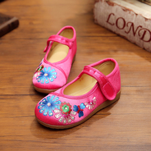 New chinese style fashion beautiful embroidery pink child canvas shoes dance flats shoes for children foot length 15-19cm