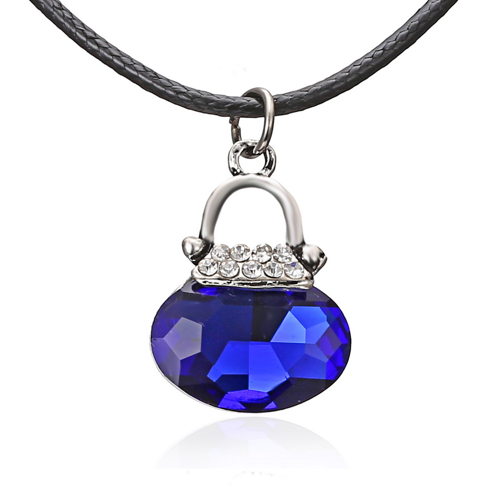 Exquisite Valentines Day Fashion Blue Crystal Water Drop Pendant Necklace Necklaces & Pe ...