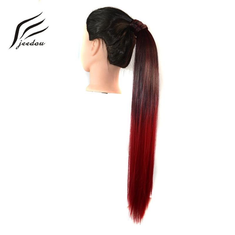 Jeedou Synthetic Ponytail Ombre Color Wrap Around Ponytail Straight 22