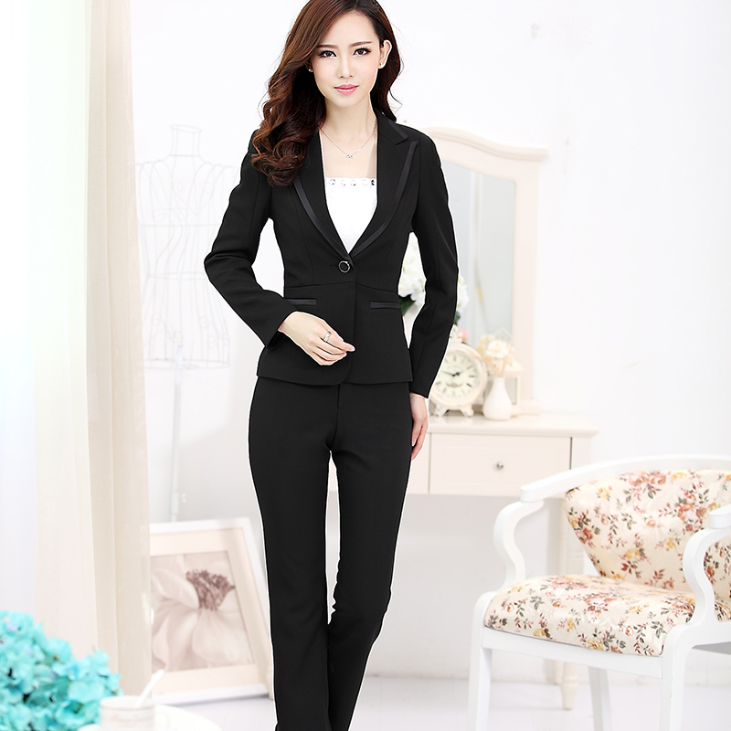 Pantalones Mujer Two Pieces Pant Suits Slim Work Wear font b Women b font Trouser font