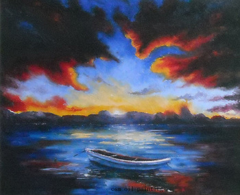 Handmade Abstract Seascape Nightfall and the Boat in the Lake Oil Painting on Canvas Wall Pictures in Calligraphy for Decoration