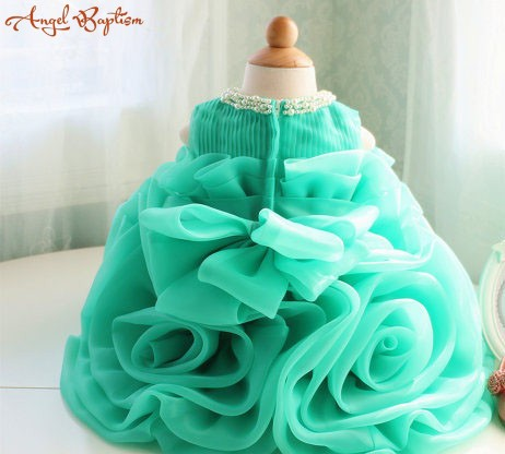 e9498bedf Ball gown Green ruffles baby 1 year Birthday party gown little girl ...