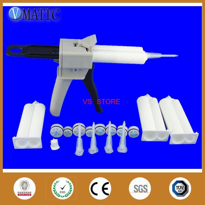 4pcs AB glue cartridge 2:1 1:1 Universal 50ML Manual Dispense Gun 1pc with Cartridge & 5pcsMixing Nozzle цена
