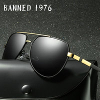 BANNED 1976 Brand Designer Rectangle Rectangle Sunglass Mens Driving Sun GlassesClassic Design Fashion Polarized Sunglasses