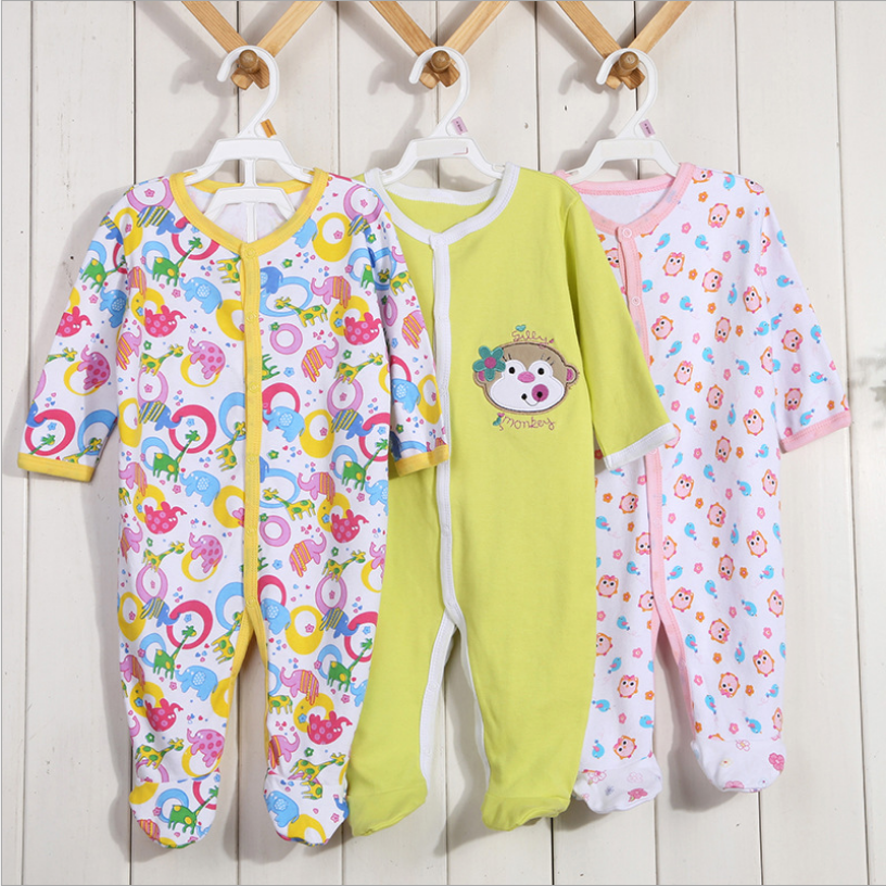 3 PCS/lot autumn winter long sleeve baby bodysuit cotton baby Legged jumper clothes fashion cotton jumpsuit baby boy girl