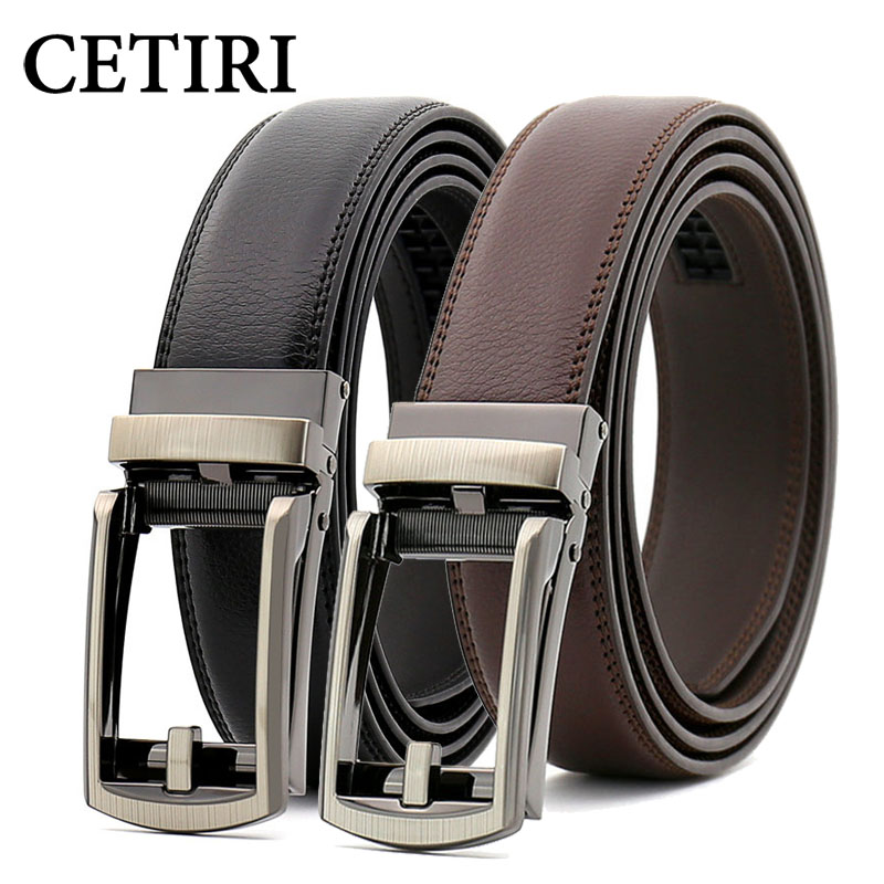 CETIRI 3.1cm Mens Genuine Leather Ratchet Dress Belt With Open Linxx Leather Buckle Black Brown High Quality Casual Jeans Belt