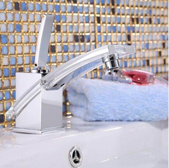 Robinet d'évier en plexiglas chaud et froid à levier unique de haute qualité, robinet de lavabo