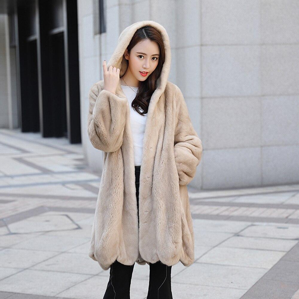 Femmes Color Épais Fourrure Real Importé Hiver Outwear Chaud De D'hiver Qualité Vison Manteau Naturel Haute Fwd6Cx64q