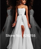 In Stock Free Shipping 2014 New Design White Ivory Sweetheart Lace Short Wedding Dresses Gowns With