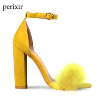 Perixir Summer Sexy High Heels Women Sandals with Fur Party Shoes Ladies Sandals Ankle Buckle Open Toe Lace up Pumps for Women