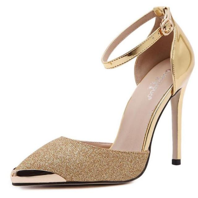 Dos Bombas de Las Mujeres de Lujo de Estilo de Metal Punta de Estilete Del Dedo Del Pie zapatos de Tacón alto de Alta Calidad de Oficina OL Bombas Brillo de Lentejuelas de la boda zapatos