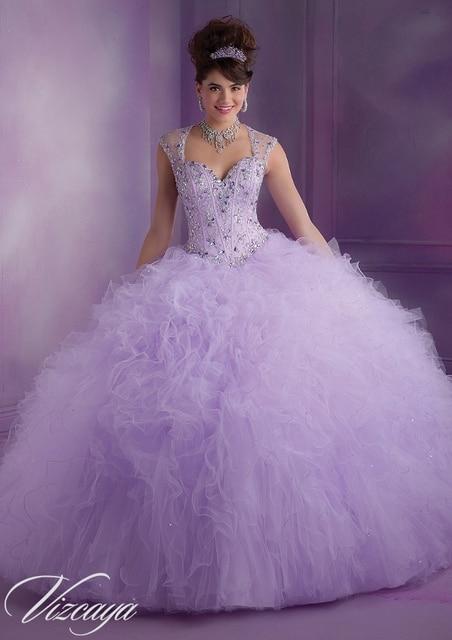 Lavanda vestidos sem mangas sweet 16 vestidos quinceanera bola vestidos beading vestidos de marmelo anos 2016 vestidos de baile de estréia