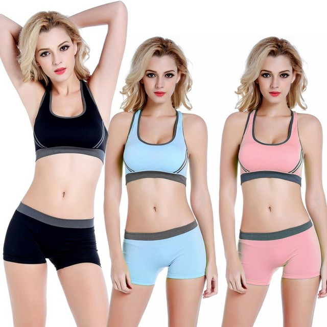 dc5633a7ce Women Sport Sets Sportswear Yoga Top Sports Bra Vest + Shorts Set Seamless  Running Fitness Gym Push Up Bras Elastic Short