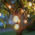 Sale 48Ft(14.8M) Outdoor Vintage String Light with15 Incandescent 5W E27 Clear Bulbs Black plug-in Cord Festive Light String