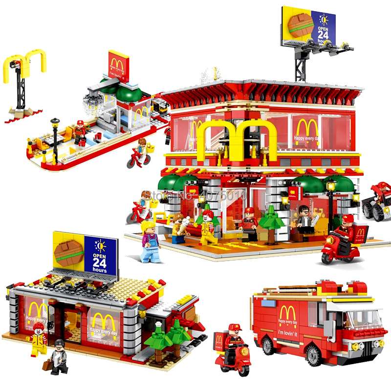 compatible LegoINGlys architecture LED City Street View Technic MacDonalds Christmas Restaurant 4in1 Building blocks toys gift 4002pcs best large building blocks sets city street center rally square compatible legoinglys creator technic toys for children
