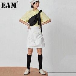 [EAM] تنورة جديدة لربيع وصيف 2020 بخصر عالٍ بيضاء بطيات قصيرة نصف الجسم تنورة غير منتظمة للنساء مواكبة للموضة JY391